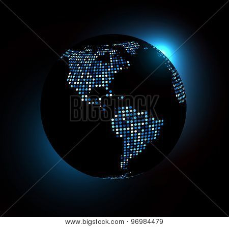 Dotted world globe. Vector technology illustration.
