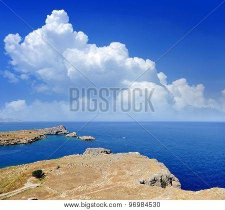 Saint Paul Bay From Lindos Rhodes Island