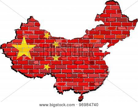 China Map On A Brick Wall