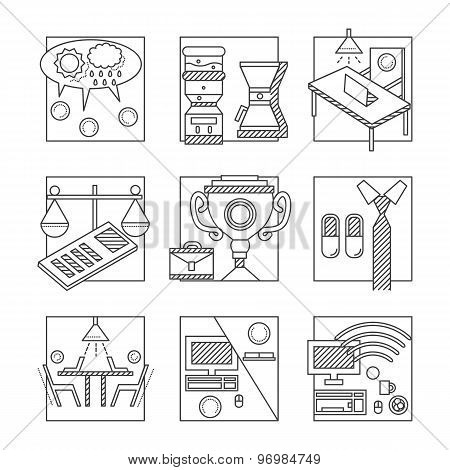 Coworking black line vector icons set