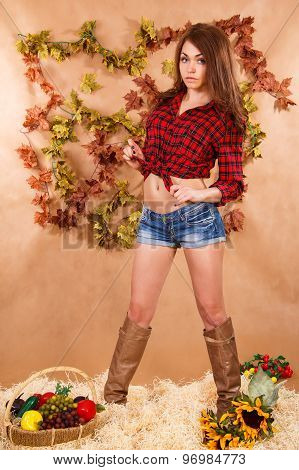 Cute Young Woman Staying In A Hay