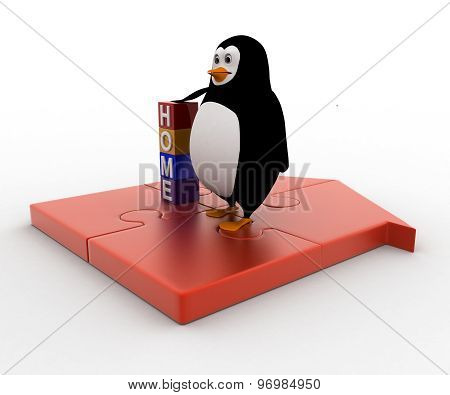 3D Penguin With Home Cube And Standing On Home Made Of Puzzle Pieces Concept