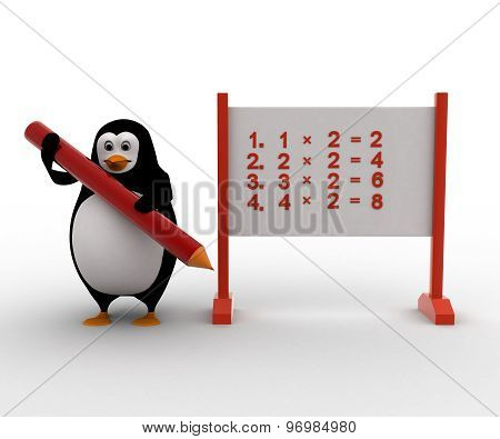 3D Penguin With Multiplication Table On Board Concept