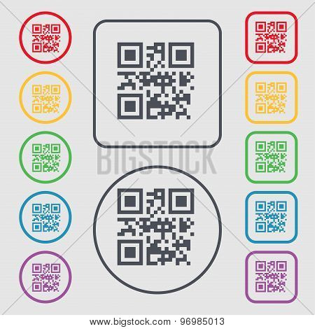 Qr Code Icon Sign. Symbol On The Round And Square Buttons With Frame. Vector