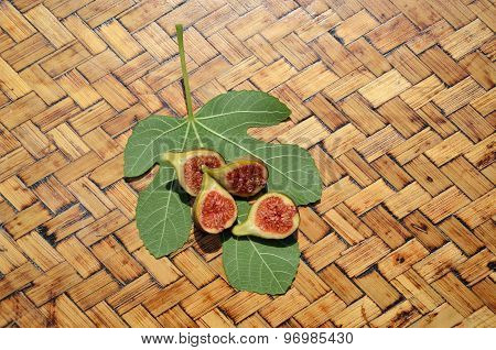 Figs Halves  On Wooden Surface
