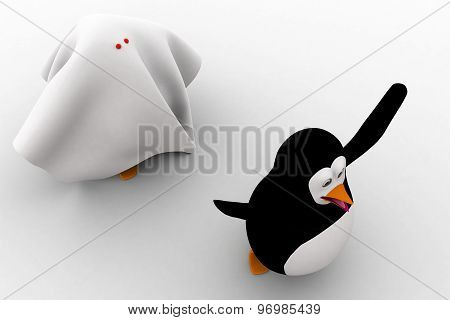 3D Penguin Afraid And Running From Ghost Concept