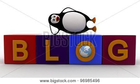 3D Penguin Sleeping Blog Cubes Concept