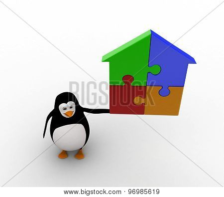 3D Penguin With Home Made Of Puzzle Pieces Concept