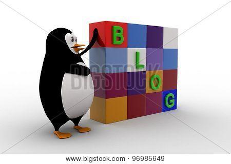 3D Penguin With Blog Cubes Concept