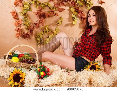 Cute Young Woman Sitting In A Hay