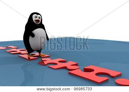 3D Penguin Standing On Floating Bridge Of Puzzle Pieces Concept