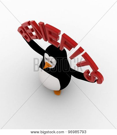 3D Penguin With Benefits Text In Hand Concept