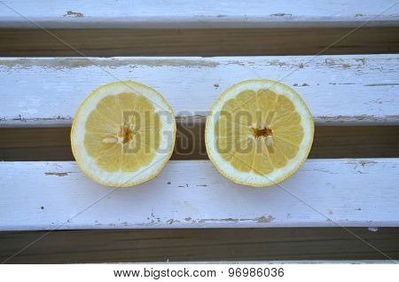 Lemon On Wooden Surface