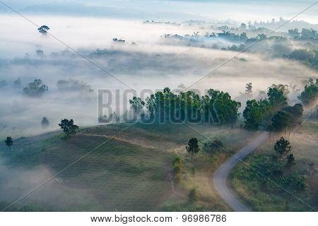 misty morning sunrise in mountain at Khao-kho Phetchabun,Thailand