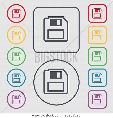 Floppy Disk Icon Sign. Symbol On The Round And Square Buttons With Frame. Vector