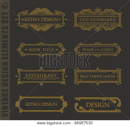 Calligraphic labels and frames elegant set. Vector baroque set. Vintage design elements and page decoration. Border frames collection royal ornament