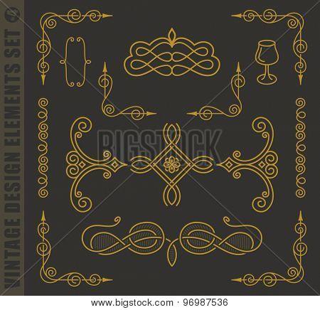 Calligraphic labels elegant set. Vector baroque frames. Vintage design elements and page decoration. Border frames collection royal ornament