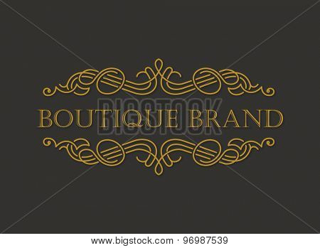 Vector gold ornament logo. Calligraphic frame and page decoration vintage illustration