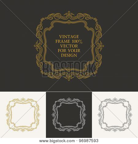 Calligraphic frame and page decoration. Vector vintage illustration background ornament