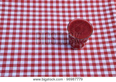 Raspberry Smoothie On Red-white