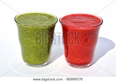 Glasses Of Spinach And  Raspberry Smoothies