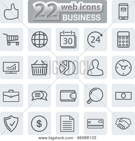 Business line Icons. Modern Web Collection Isolated on white background. Illustration. Vector EPS10.