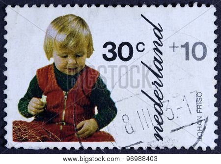 Young dutch prince on a postage stamp.