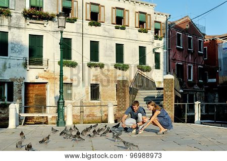 Couple On Travel Vacation In Venice, Italy