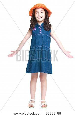 girl in a blue dress