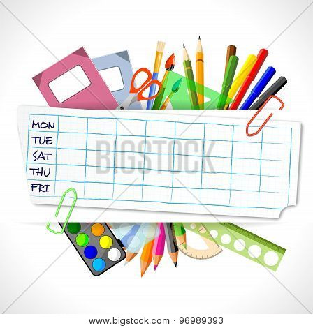 School Timetable With Stationery, vector illustration