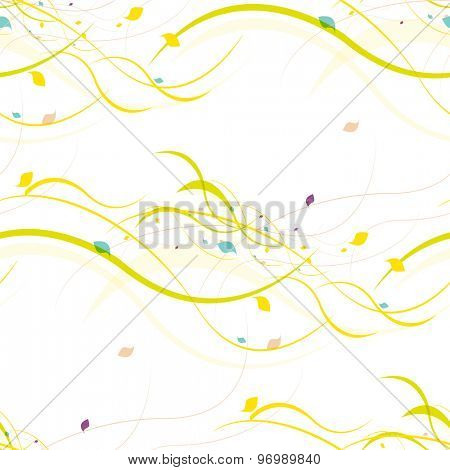 Floral seamless pattern. Abstract waves with leaves, eco nature background. Vector modern texture