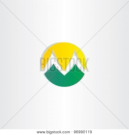 Mountains And Sun Logo Letter M Icon