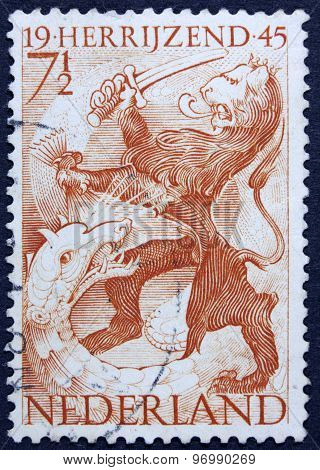 Lion on a postage stamp.