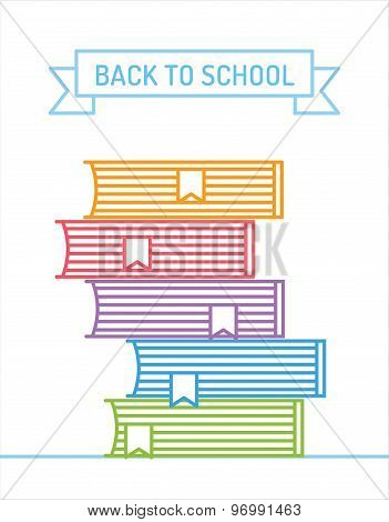 Linear books stack. Education, university, college and knowledge or book, back to school. Book vecto