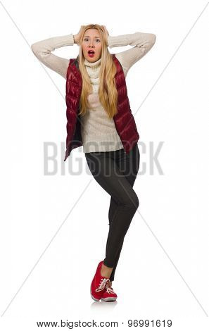 Blond hair girl in bordo vest isolated on white