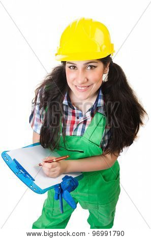 Female workman in green overalls isolated on white