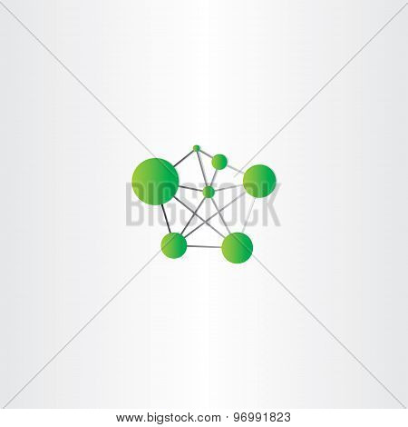Molecule Icon Green Vector Logo
