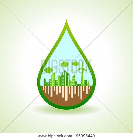 Ecology concept with water droplet  - vector illustration