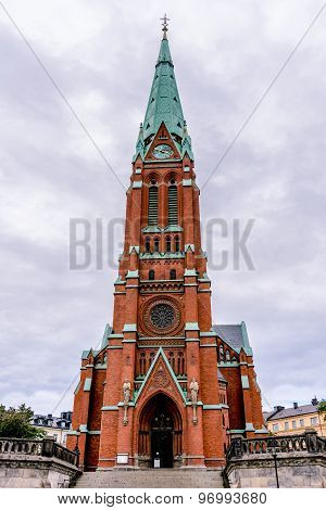 Protestant Church rising into the sky in Stockholm Sweden.
