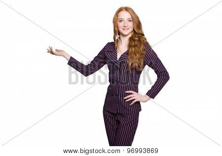Young lady in striped retro suit isolated on white