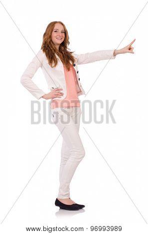 Cute smiling girl in light short coat isolated on white