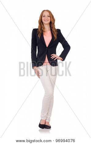 Cute smiling girl in black jacket isolated on white