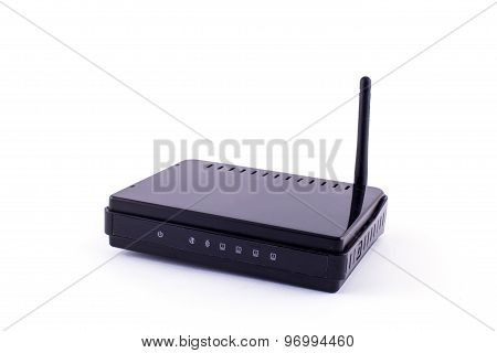 Black Wireless Router Isolated On White Background.