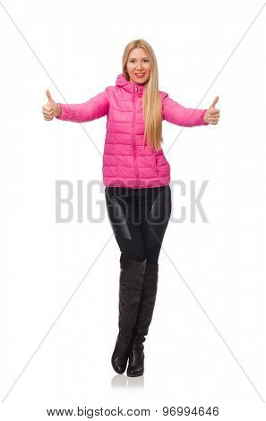 Pretty girl in winter pink jacket isolated on white