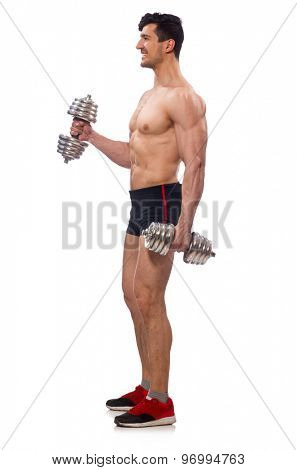 Muscular man isolated on the white background