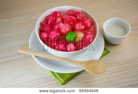 Crisp Pomegranate Seeds Is Traditional Thai Sweetmeat