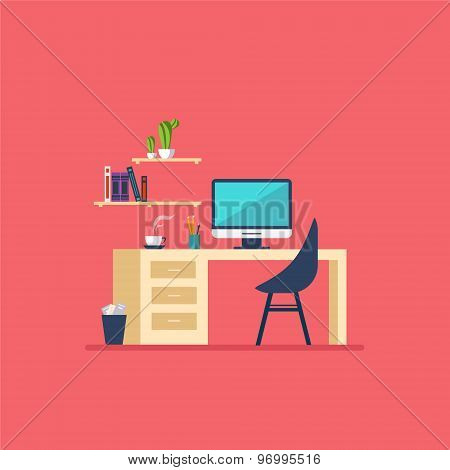 Workplace in room Flat minimalistic style
