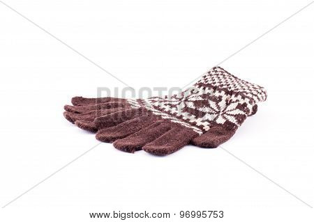 Closeup Of Pair Of Colorful Woolen Gloves. Isolated On White Background