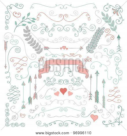 Vector Hand Sketched Rustic Floral Design Elements