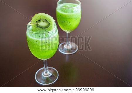 Glass Of Smoothies Fresh Kiwi